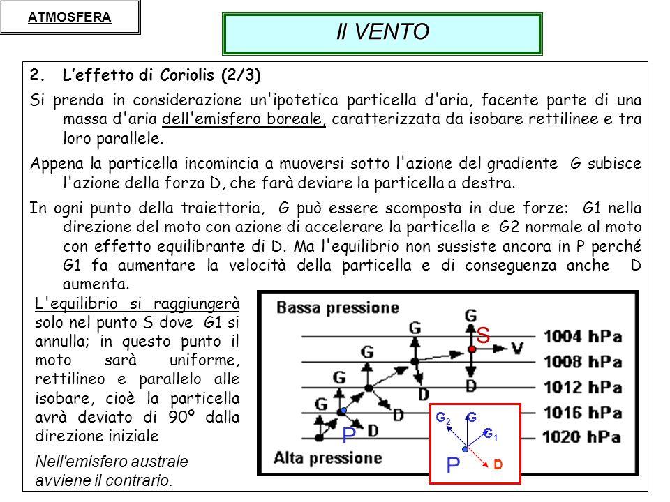 8 2.Leffetto di Coriolis (2/3) Si prenda in considerazione un'ipotetica particella d'aria, facente parte di una massa d'aria dell'emisfero boreale, ca