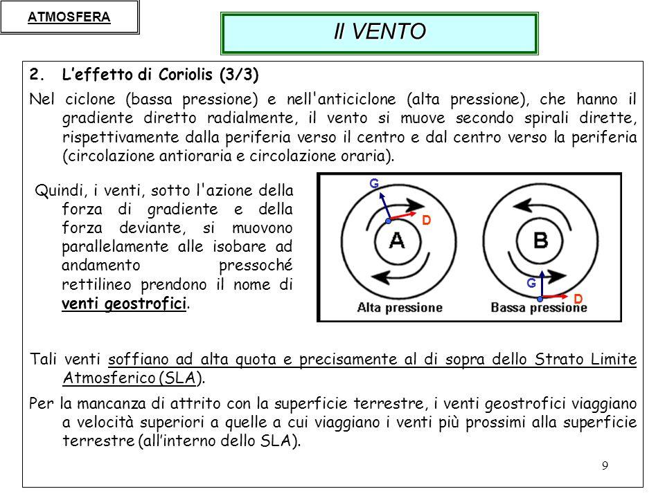9 2.Leffetto di Coriolis (3/3) Nel ciclone (bassa pressione) e nell'anticiclone (alta pressione), che hanno il gradiente diretto radialmente, il vento
