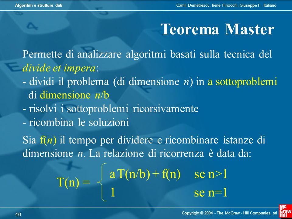 Camil Demetrescu, Irene Finocchi, Giuseppe F. ItalianoAlgoritmi e strutture dati Copyright © 2004 - The McGraw - Hill Companies, srl 40 Teorema Master