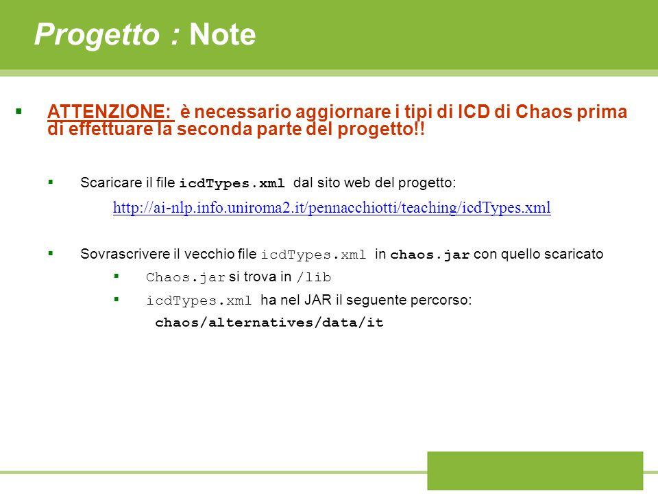 Progetto : Note ATTENZIONE: è necessario aggiornare i tipi di ICD di Chaos prima di effettuare la seconda parte del progetto!.