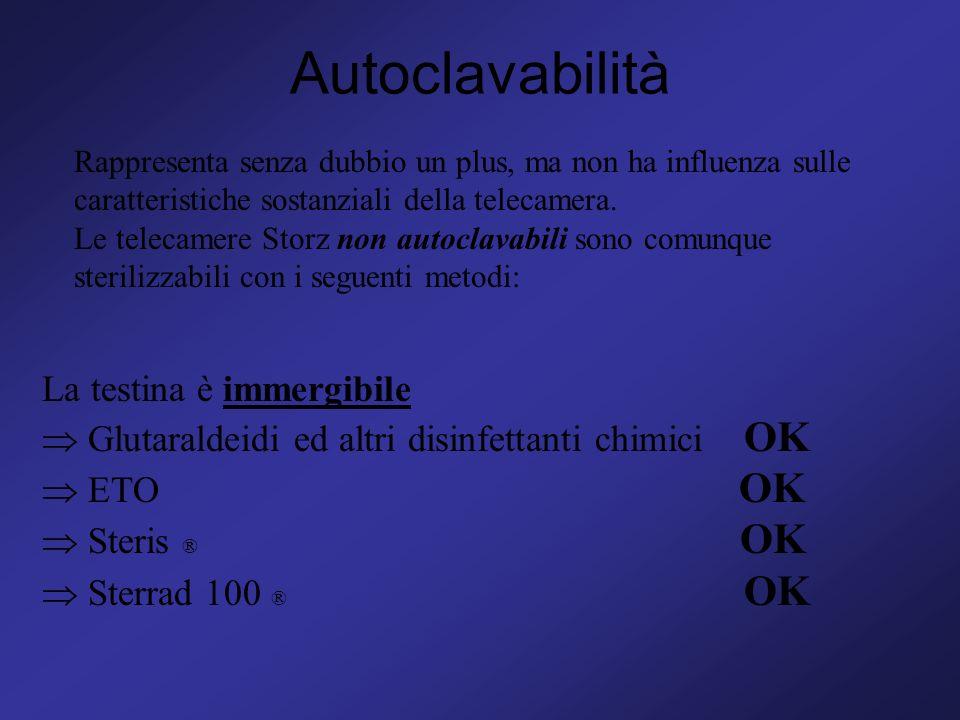 Autoclavabilità Rappresenta senza dubbio un plus, ma non ha influenza sulle caratteristiche sostanziali della telecamera. Le telecamere Storz non auto