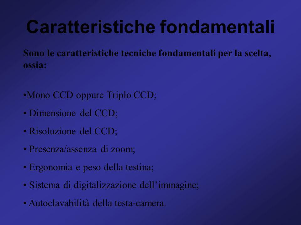 Caratteristiche fondamentali Sono le caratteristiche tecniche fondamentali per la scelta, ossia: Mono CCD oppure Triplo CCD; Dimensione del CCD; Risol