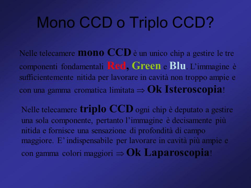 Mono CCD o Triplo CCD? Nelle telecamere mono CCD è un unico chip a gestire le tre componenti fondamentali Red, Green e Blu. Limmagine è sufficientemen