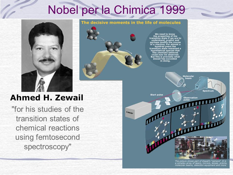 Nobel per la Chimica 1999 for his studies of the transition states of chemical reactions using femtosecond spectroscopy Ahmed H.