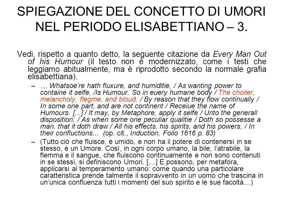 SPIEGAZIONE DEL CONCETTO DI UMORI NEL PERIODO ELISABETTIANO – 3.