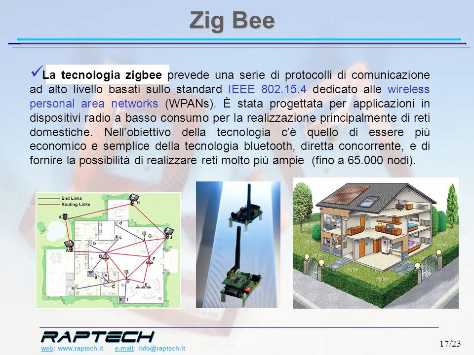 web: www.raptech.it e-mail: info@raptech.it 17/23 La tecnologia zigbee prevede una serie di protocolli di comunicazione ad alto livello basati sullo standard IEEE 802.15.4 dedicato alle wireless personal area networks (WPANs).