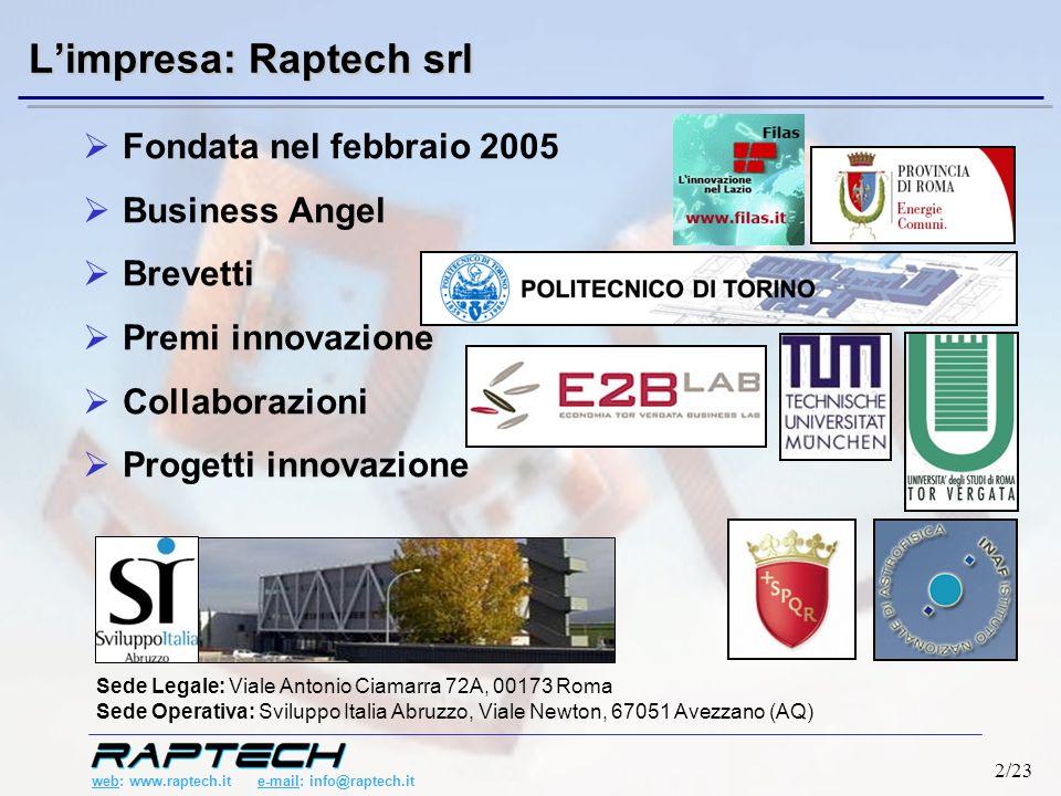 web: www.raptech.it e-mail: info@raptech.it 2/23 Limpresa: Raptech srl Fondata nel febbraio 2005 Business Angel Brevetti Premi innovazione Collaborazioni Progetti innovazione Sede Legale: Viale Antonio Ciamarra 72A, 00173 Roma Sede Operativa: Sviluppo Italia Abruzzo, Viale Newton, 67051 Avezzano (AQ)