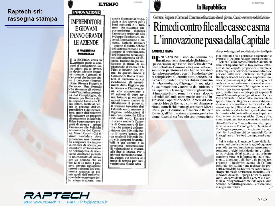 web: www.raptech.it e-mail: info@raptech.it 26/23 Chip RFID Microcontroller USB RJ45 RS232 Raptech Multiplexer WiFi Nuove funzionalità Basso Costo Smart Shelf European Patent Application no 04425777.2 R&D: Reader Raptech 1.Reader con funzionalità avanzate 2.Integrabile facilmente nelle reti esistenti 3.Configurabile da remoto 4.Economico Nuove interfacce di comunicazione
