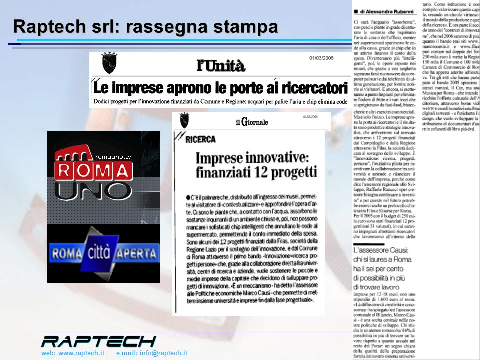 web: www.raptech.it e-mail: info@raptech.it 6/23 Raptech srl: rassegna stampa