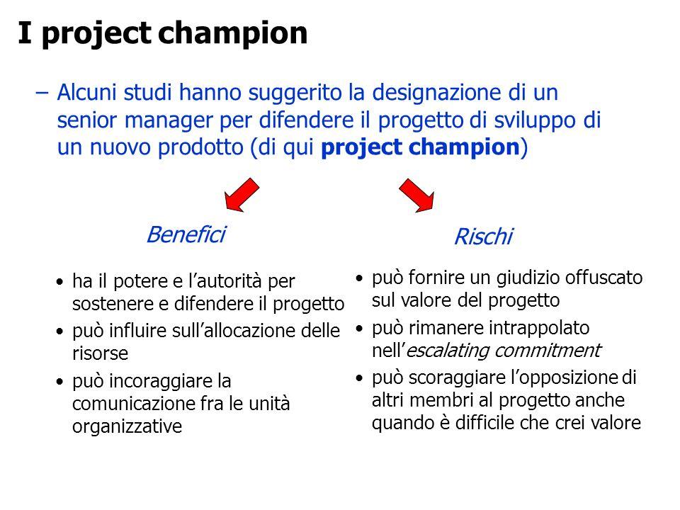 –Alcuni studi hanno suggerito la designazione di un senior manager per difendere il progetto di sviluppo di un nuovo prodotto (di qui project champion