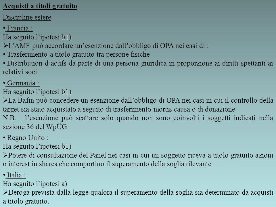 Acquisti a titoli gratuito Discipline estere Francia : b1) Ha seguito lipotesi b1) LAMF può accordare unesenzione dallobbligo di OPA nei casi di : Tra