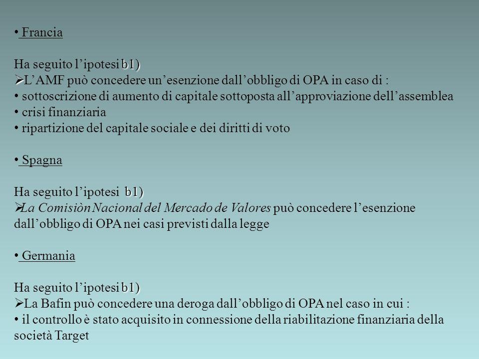 Francia b1) Ha seguito lipotesi b1) LAMF può concedere unesenzione dallobbligo di OPA in caso di : sottoscrizione di aumento di capitale sottoposta al