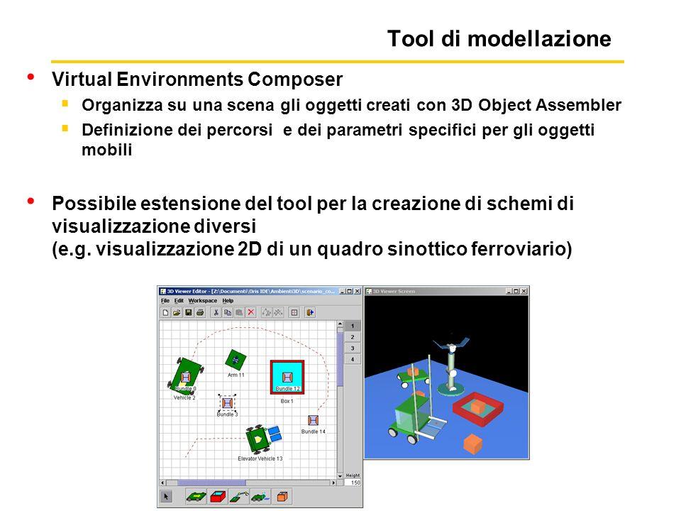 Tool di modellazione Virtual Environments Composer Organizza su una scena gli oggetti creati con 3D Object Assembler Definizione dei percorsi e dei parametri specifici per gli oggetti mobili Possibile estensione del tool per la creazione di schemi di visualizzazione diversi (e.g.