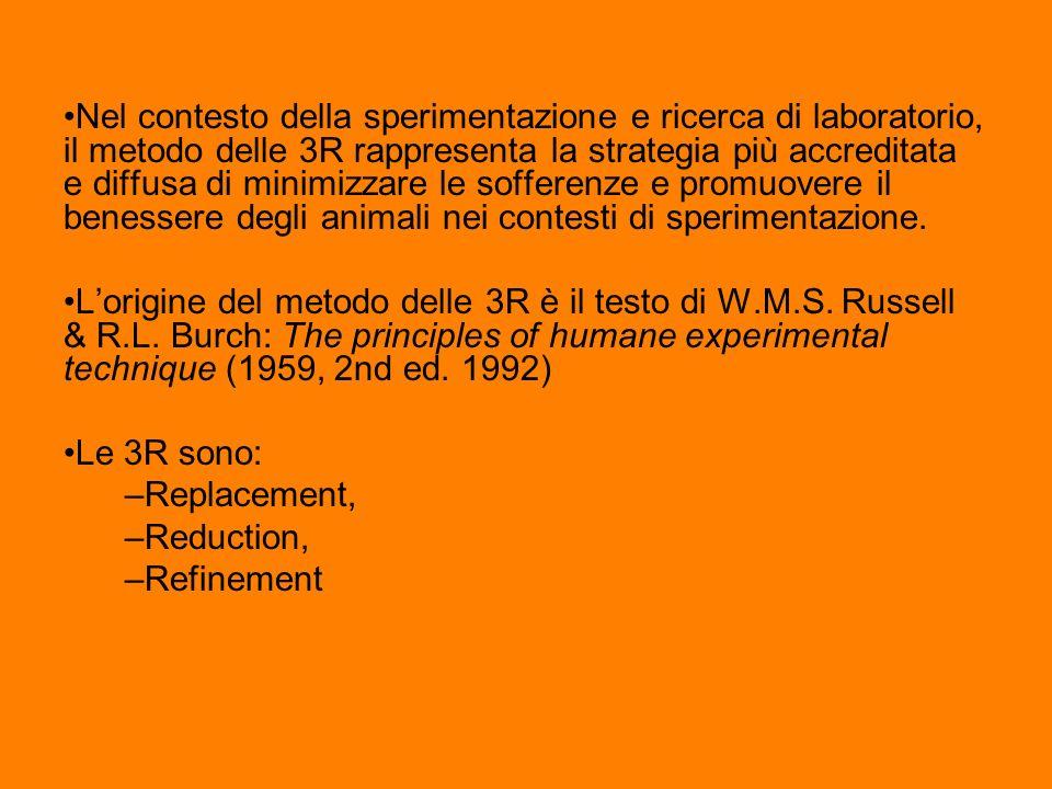 Nel contesto della sperimentazione e ricerca di laboratorio, il metodo delle 3R rappresenta la strategia più accreditata e diffusa di minimizzare le s