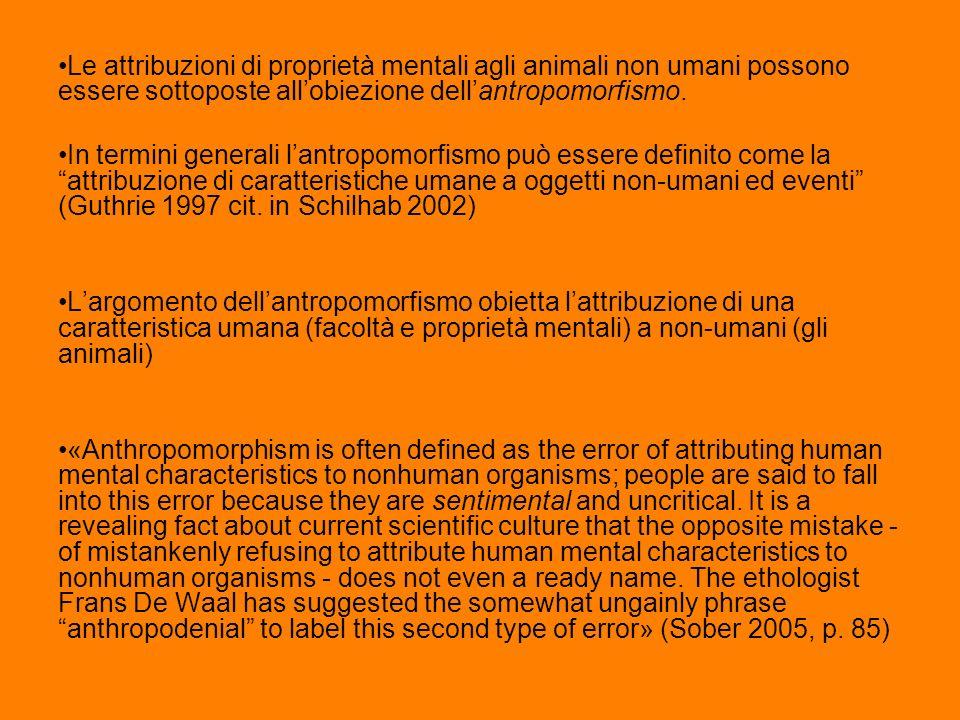 Le attribuzioni di proprietà mentali agli animali non umani possono essere sottoposte allobiezione dellantropomorfismo. In termini generali lantropomo