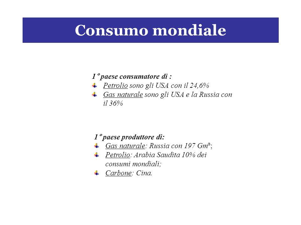 Consumo mondiale 1° paese produttore di: Gas naturale: Russia con 197 Gm ³ ; Petrolio: Arabia Saudita 10% dei consumi mondiali; Carbone: Cina.