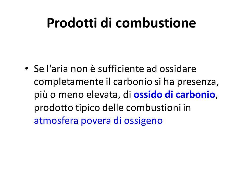 Prodotti di combustione Nelle combustioni in aria si ha la formazione di acqua liquida o vaporizzata e di anidride carbonica dovuta alla presenza di c