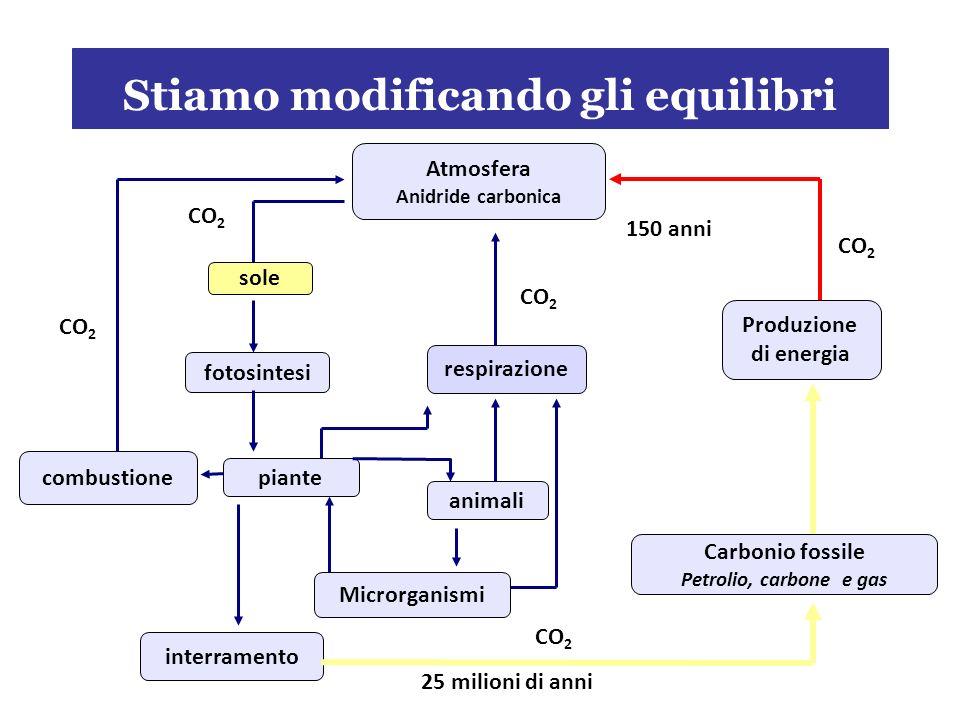 Stiamo modificando gli equilibri animali fotosintesi sole Produzione di energia interramento Carbonio fossile Petrolio, carbone e gas Atmosfera Anidride carbonica combustione respirazione piante Microrganismi CO 2 150 anni 25 milioni di anni