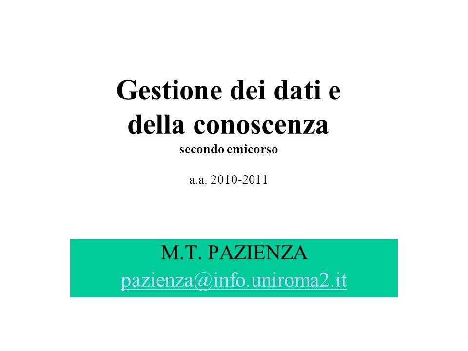 Gestione dei dati e della conoscenza secondo emicorso a.a. 2010-2011 M.T. PAZIENZA pazienza@info.uniroma2.it