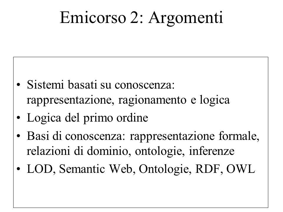 Emicorso 2: Argomenti Sistemi basati su conoscenza: rappresentazione, ragionamento e logica Logica del primo ordine Basi di conoscenza: rappresentazione formale, relazioni di dominio, ontologie, inferenze LOD, Semantic Web, Ontologie, RDF, OWL