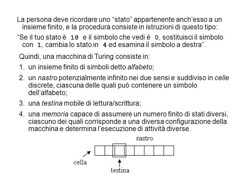 Quindi, una macchina di Turing consiste in: 1.un insieme finito di simboli detto alfabeto; 2.un nastro potenzialmente infinito nei due sensi e suddivi