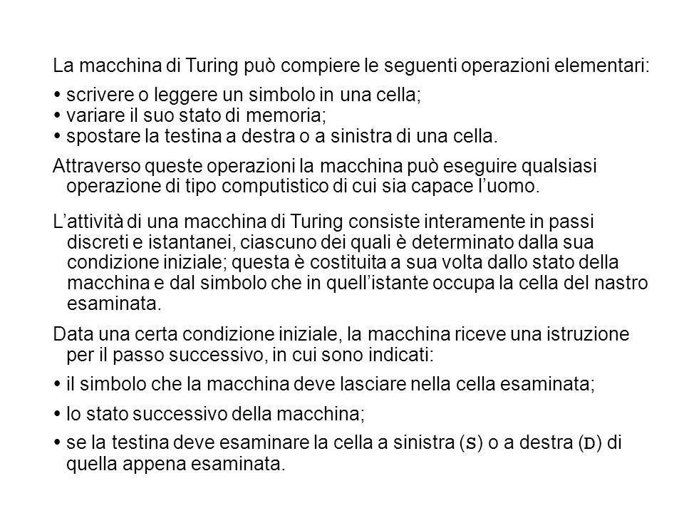 La macchina di Turing può compiere le seguenti operazioni elementari: scrivere o leggere un simbolo in una cella; variare il suo stato di memoria; spo