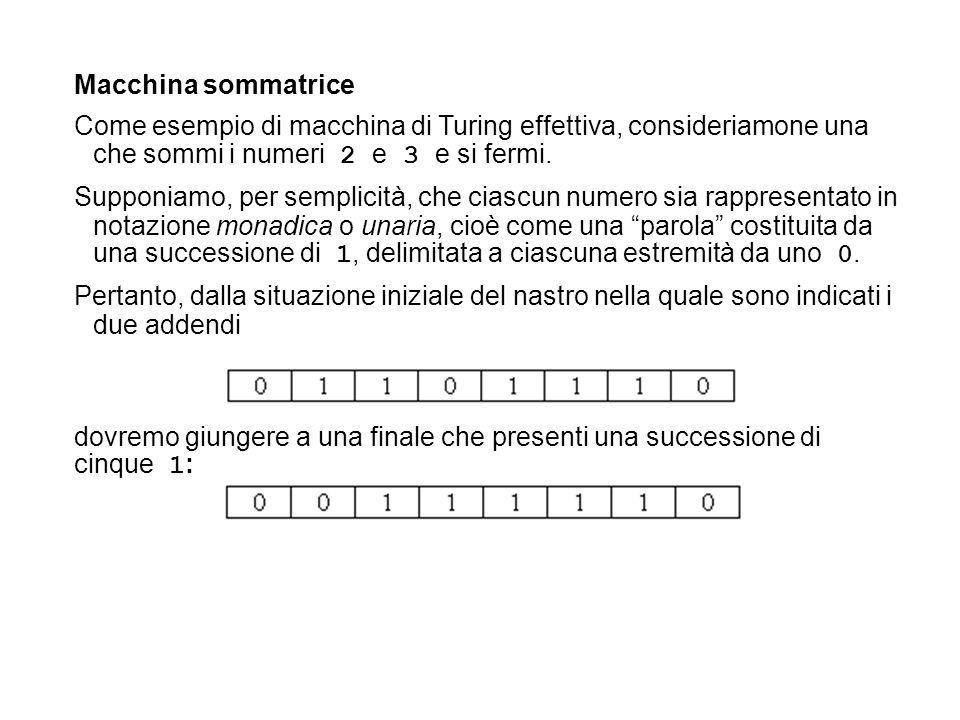 Macchina sommatrice Come esempio di macchina di Turing effettiva, consideriamone una che sommi i numeri 2 e 3 e si fermi. Supponiamo, per semplicità,