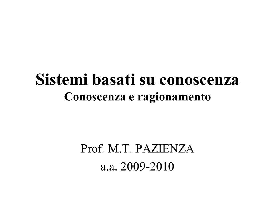 Sistemi basati su conoscenza Conoscenza e ragionamento Prof. M.T. PAZIENZA a.a. 2009-2010
