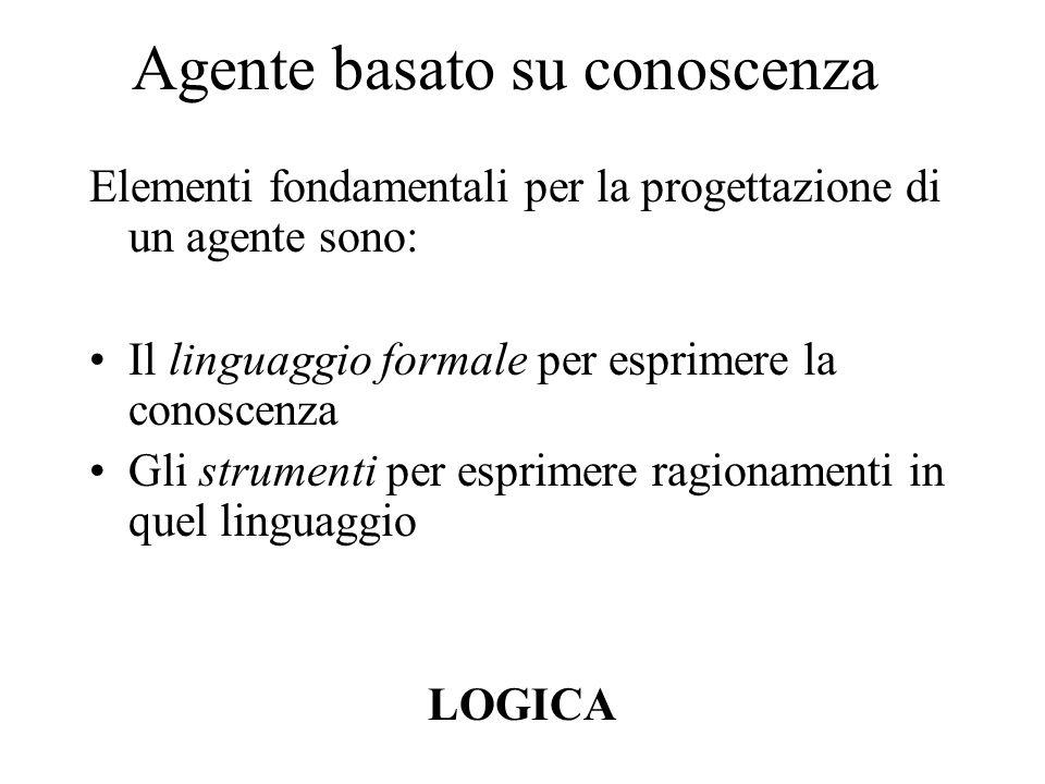 Agente basato su conoscenza Elementi fondamentali per la progettazione di un agente sono: Il linguaggio formale per esprimere la conoscenza Gli strumenti per esprimere ragionamenti in quel linguaggio LOGICA