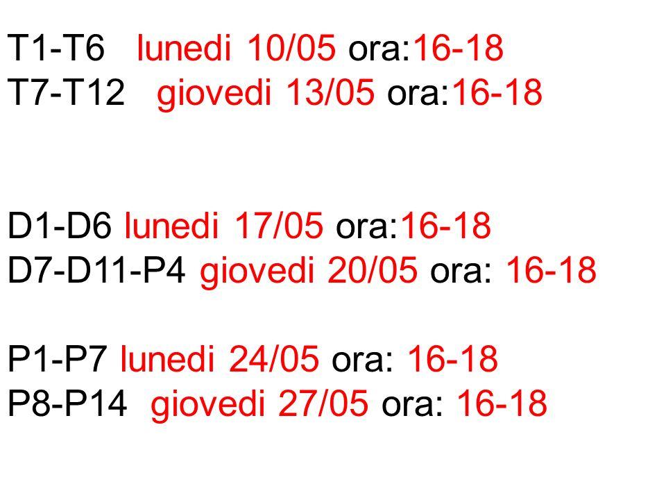 T1-T6 lunedi 10/05 ora:16-18 T7-T12 giovedi 13/05 ora:16-18 D1-D6 lunedi 17/05 ora:16-18 D7-D11-P4 giovedi 20/05 ora: 16-18 P1-P7 lunedi 24/05 ora: 16-18 P8-P14 giovedi 27/05 ora: 16-18