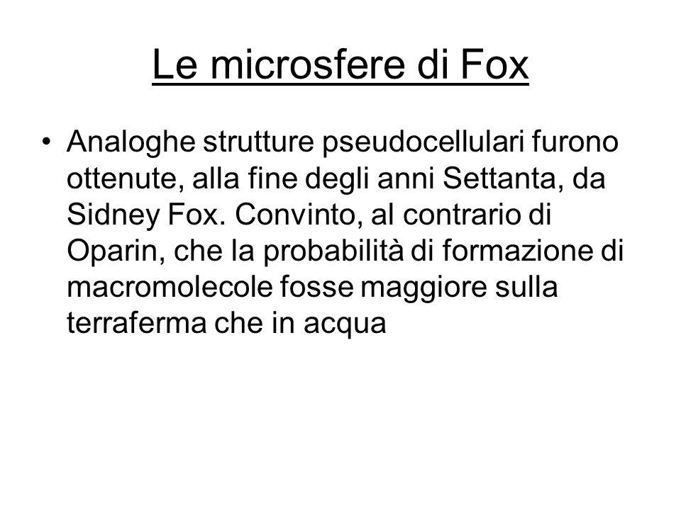 Le microsfere di Fox Analoghe strutture pseudocellulari furono ottenute, alla fine degli anni Settanta, da Sidney Fox. Convinto, al contrario di Opari