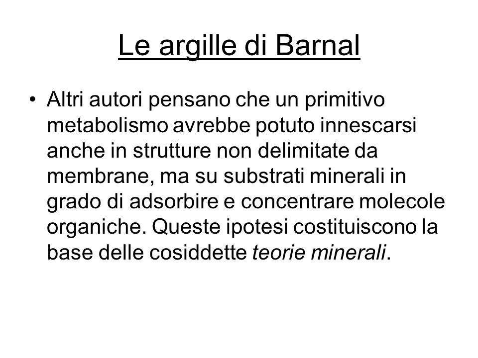 Le argille di Barnal Altri autori pensano che un primitivo metabolismo avrebbe potuto innescarsi anche in strutture non delimitate da membrane, ma su