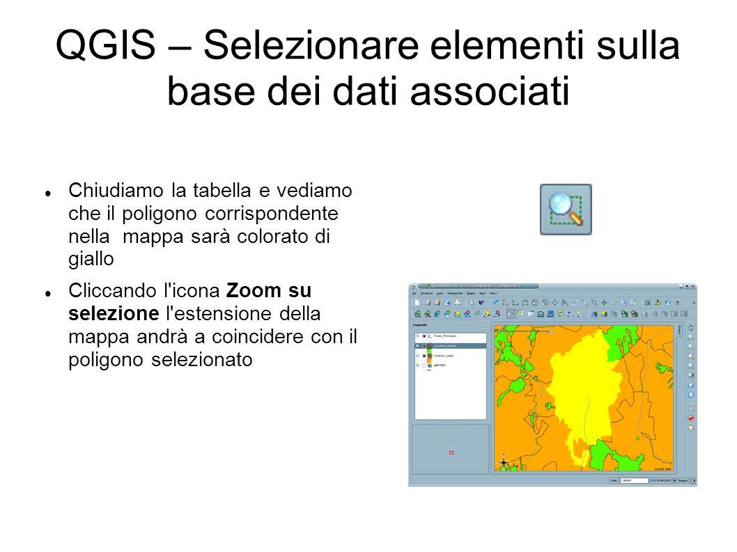 QGIS – Selezionare elementi sulla base dei dati associati Chiudiamo la tabella e vediamo che il poligono corrispondente nella mappa sarà colorato di giallo Cliccando l icona Zoom su selezione l estensione della mappa andrà a coincidere con il poligono selezionato