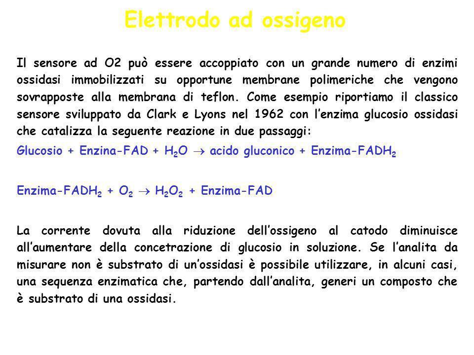 Elettrodo ad ossigeno Un comune elettrodo ad ossigeno è lelettrodo di Clark: catodo (elettrodo di lavoro) di platino o doro, anodo (elettrodo di rifer