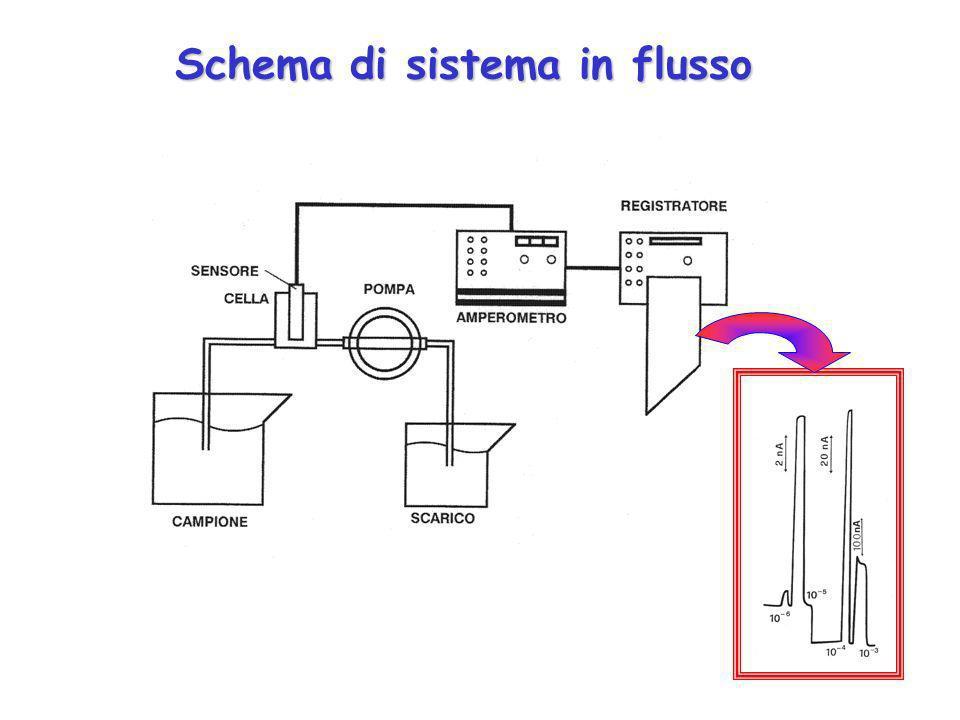Sistema in flusso Il biosensore è inserito in una cella elettrochimica di flusso costituita da due o tre elettrodi. La cella elettrochimica è collegat