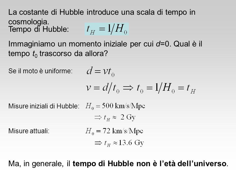 La costante di Hubble introduce una scala di tempo in cosmologia. Tempo di Hubble: Se il moto è uniforme: Misure iniziali di Hubble: Misure attuali: M