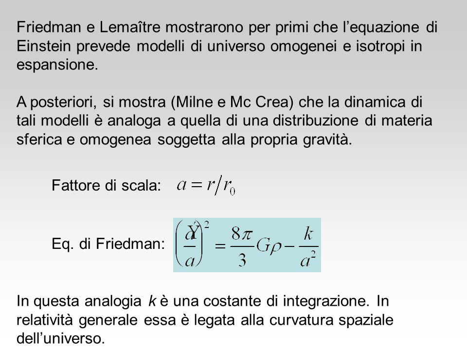 Friedman e Lemaître mostrarono per primi che lequazione di Einstein prevede modelli di universo omogenei e isotropi in espansione. A posteriori, si mo