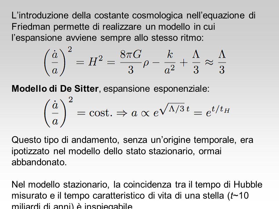 Lintroduzione della costante cosmologica nellequazione di Friedman permette di realizzare un modello in cui lespansione avviene sempre allo stesso rit