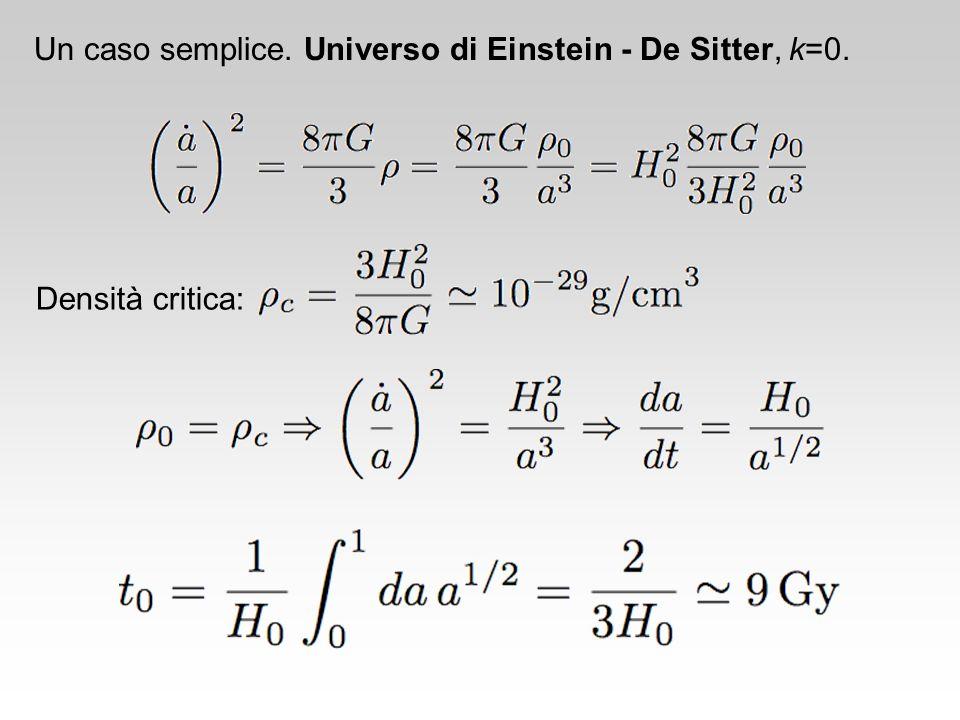 Un caso semplice. Universo di Einstein - De Sitter, k=0. Densità critica: