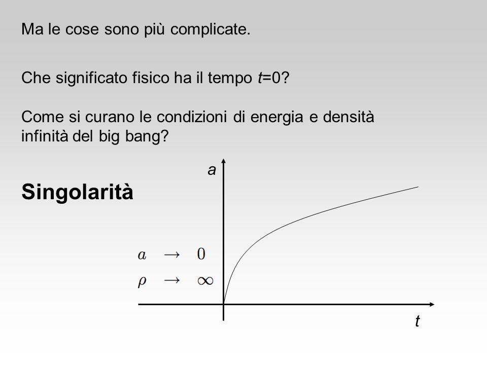 Ma le cose sono più complicate. Che significato fisico ha il tempo t=0? Come si curano le condizioni di energia e densità infinità del big bang? a t S