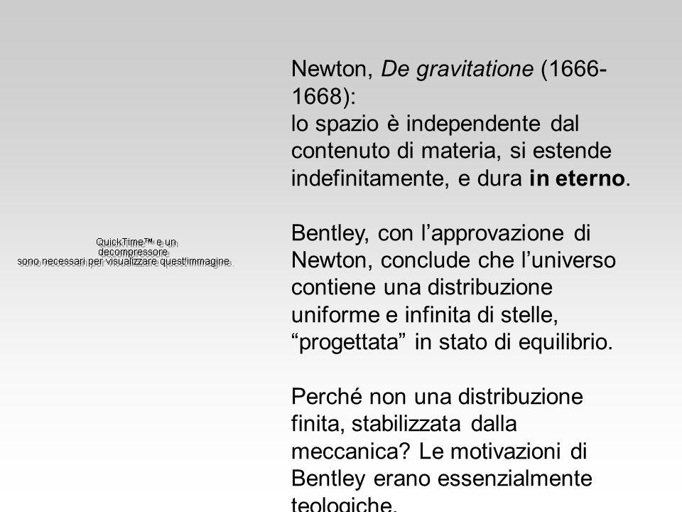 Newton, De gravitatione (1666- 1668): lo spazio è independente dal contenuto di materia, si estende indefinitamente, e dura in eterno. Bentley, con la