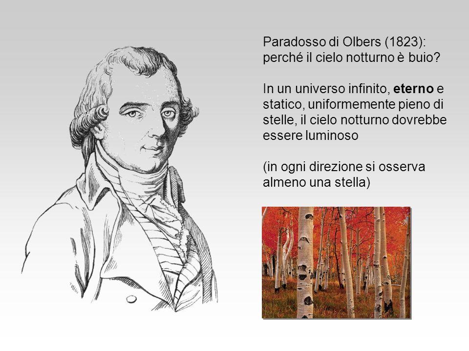 Paradosso di Olbers (1823): perché il cielo notturno è buio? In un universo infinito, eterno e statico, uniformemente pieno di stelle, il cielo nottur