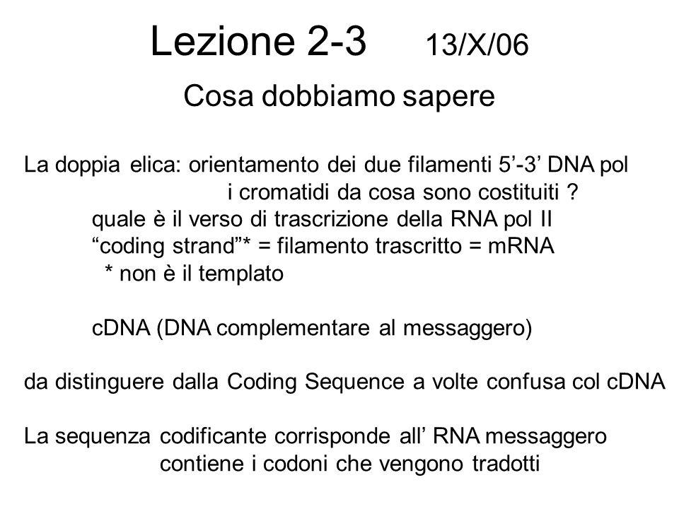 Trascrizione e complemetarietà In banca dati la sequenza di un gene è indicata nel verso di trascrizione e corrisponde alla coding sequence che è uguale al messaggero (salvo T U) Le sequenze per convenzione si scricvono sempre 53 salvo quando si mostra una doppia elica in cui cè la complementare che è antiparallela