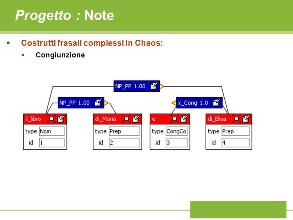 Progetto : Note Costrutti frasali complessi in Chaos: Congiunzione