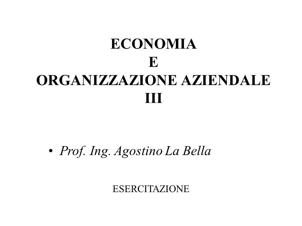 ECONOMIA E ORGANIZZAZIONE AZIENDALE III Prof. Ing. Agostino La Bella ESERCITAZIONE