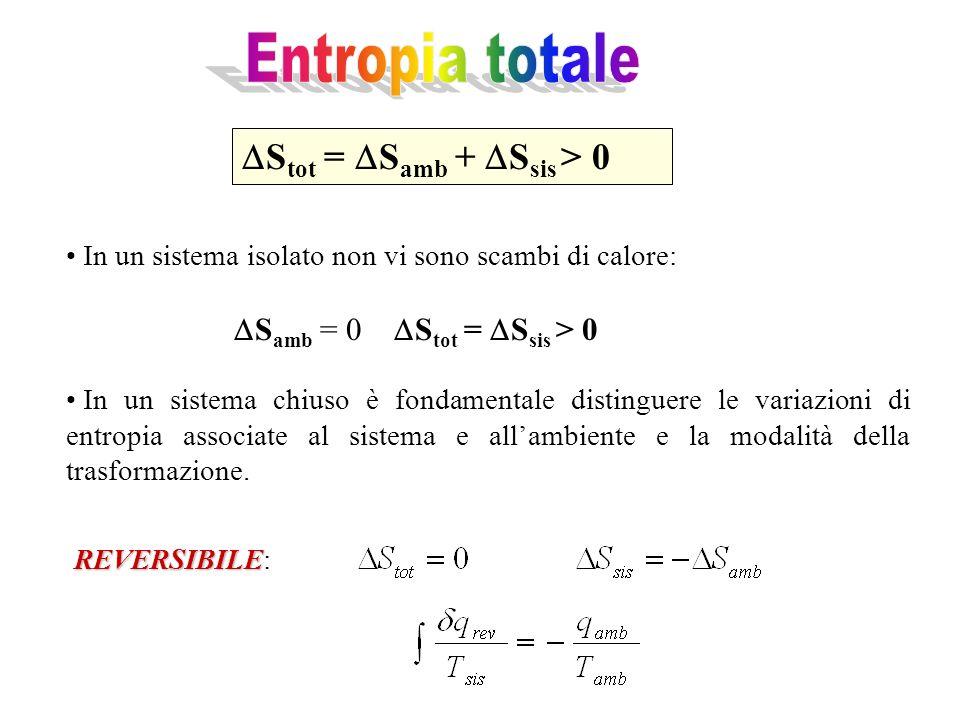 S tot = S amb + S sis > 0 In un sistema isolato non vi sono scambi di calore: S amb = 0 S tot = S sis > 0 In un sistema chiuso è fondamentale distinguere le variazioni di entropia associate al sistema e allambiente e la modalità della trasformazione.
