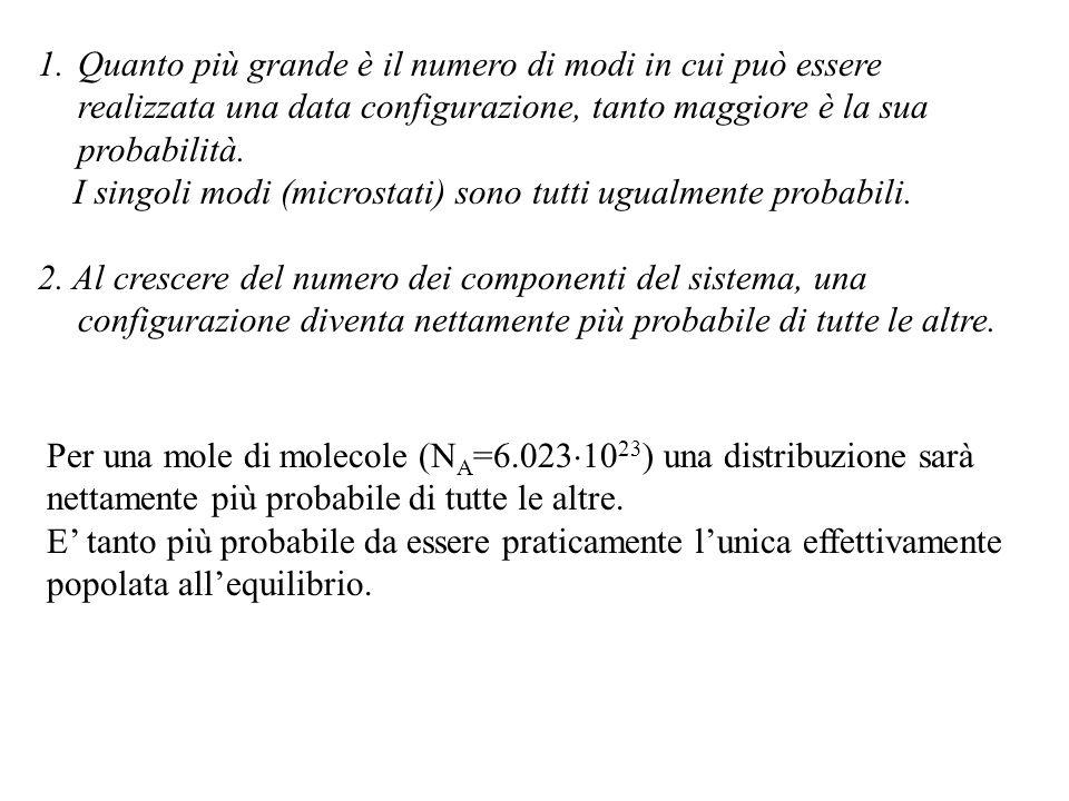 1.Quanto più grande è il numero di modi in cui può essere realizzata una data configurazione, tanto maggiore è la sua probabilità.