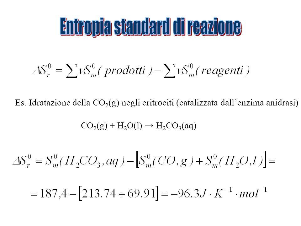 Es. Idratazione della CO 2 (g) negli eritrociti (catalizzata dallenzima anidrasi) CO 2 (g) + H 2 O(l) H 2 CO 3 (aq)
