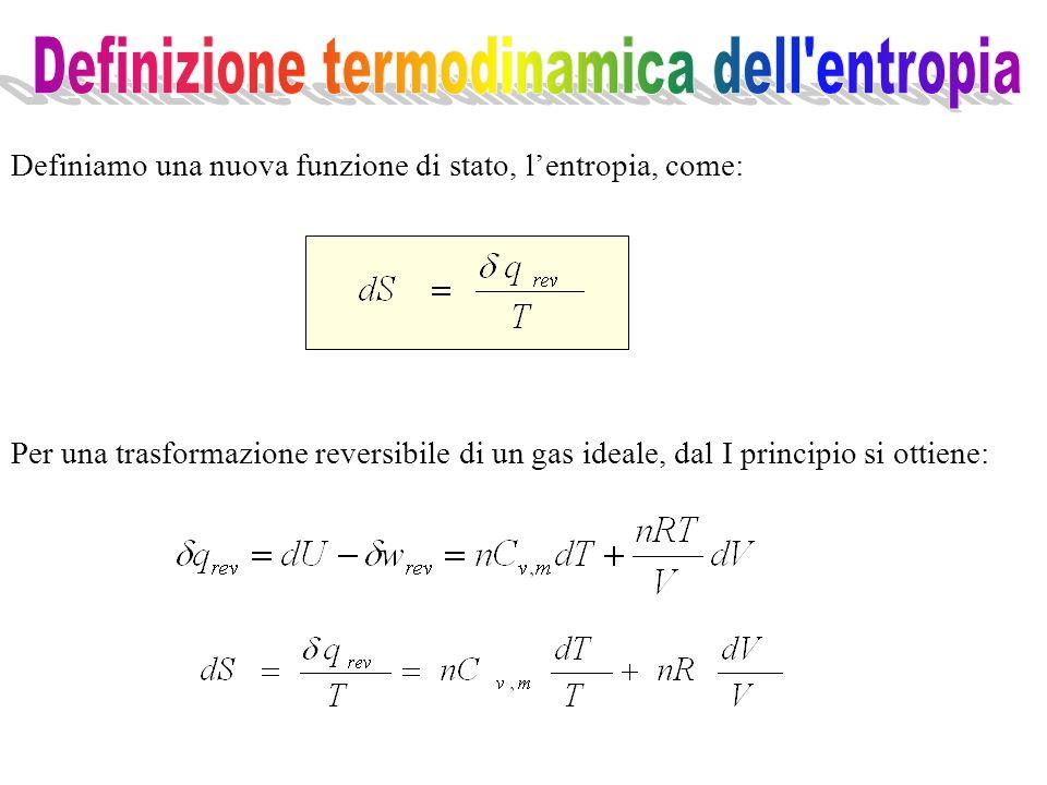 Per una trasformazione reversibile di un gas ideale, dal I principio si ottiene: Definiamo una nuova funzione di stato, lentropia, come: