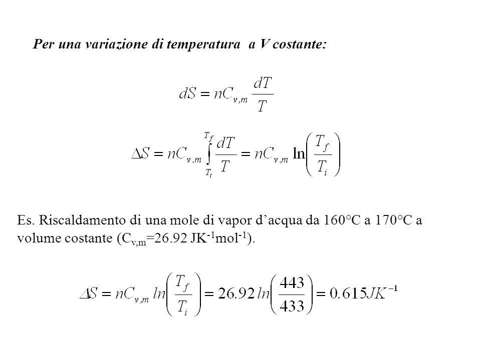 IRREVERSIBILE: Per tutti i processi adiabatici: q = 0 S amb = 0 S tot = S sis > 0